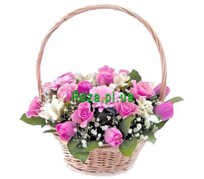 """Basket of roses, gerberas and tulips"" in the online flower shop roza.pl.ua"