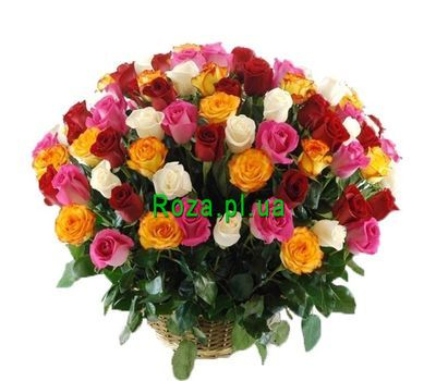"""Basket of 101 different colored roses"" in the online flower shop roza.pl.ua"