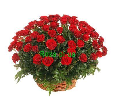 """Basket of 101 red roses"" in the online flower shop roza.pl.ua"