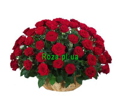 """Basket of 51 roses"" in the online flower shop roza.pl.ua"