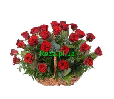 """Basket of 25 red roses"" in the online flower shop roza.pl.ua"