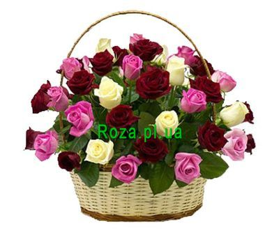 """Basket of 35 multi-colored roses"" in the online flower shop roza.pl.ua"