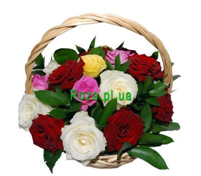 """Basket of 17 multi-colored roses"" in the online flower shop roza.pl.ua"