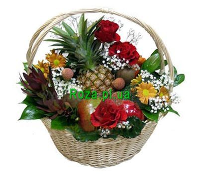 """Fruit basket with flowers"" in the online flower shop roza.pl.ua"