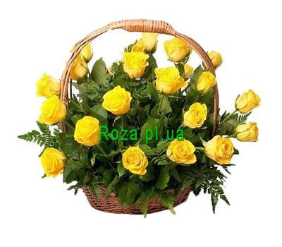 """Basket of 31 Yellow Roses"" in the online flower shop roza.pl.ua"