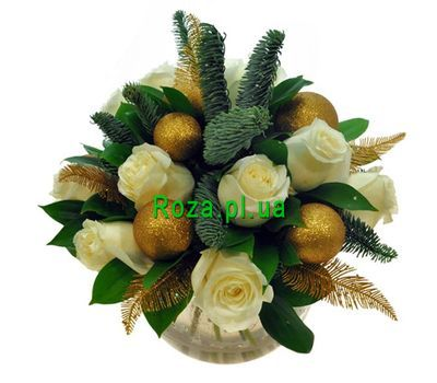 """Bouquet of 11 roses and ornaments"" in the online flower shop roza.pl.ua"