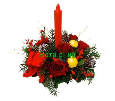 """Bouquet of 5 roses and candles"" in the online flower shop roza.pl.ua"
