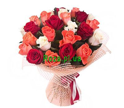 """Bouquet of 25 multi-colored roses"" in the online flower shop roza.pl.ua"