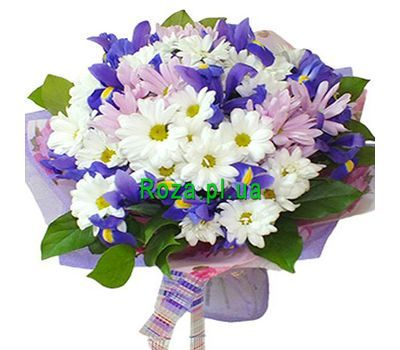 """Bouquet with 8 chrysanthemums and 7 irises"" in the online flower shop roza.pl.ua"