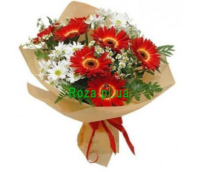"""Bouquet of 7 gerberas and 2 chrysanthemums"" in the online flower shop roza.pl.ua"